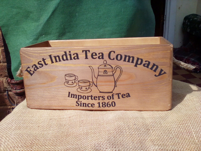 "Gorgeous wooden vintage style""East India Tea Company"" large size rustic box."