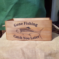 "A quirky vintage style ""Gone Fishing - Catch You Later"" wooden storage box."