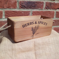Fabulous large size vintage style rustic wooden HERBS & SPICES storage box crate