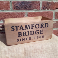 "Fantastic quirky ""STAMFORD BRIDGE"" rustic wooden football theme storage box."