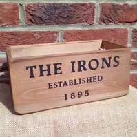 "Quirky West Ham vintage style wooden storage box. ""The Irons - The Hammers"""