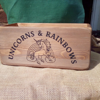Fabulous large vintage style Unicorns & Rainbows rustic wooden storage box crate