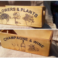 "Rustic style wooden storage boxes ""Champagne & Wine"" or ""Flowers & Plants""."