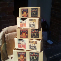 "Fantastic retro style wooden ""CLASSIC MUSIC ICONS"" storage box crate, 5 sizes."