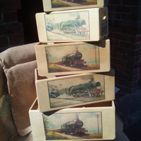 Vintage style wooden storage boxes crates with a Steam Train design. 5 sizes.