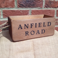 Rustic wooden Anfield Road football storage box.
