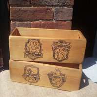 Harry Potter themed wooden storage box with all 4 of the Hogwarts School Houses