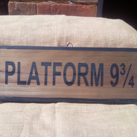 "Rustic style wooden ""PLATFORM NINE & THREE QUARTERS"" sign. Fab for Potter fans!"