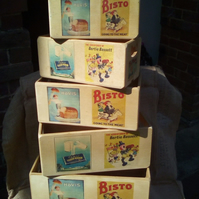 Fantastic retro style wooden VINTAGE ADVERTS themed crates. ( Hovis, Bisto etc)