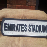 "RETRO STYLE wooden ""Emirates Stadium"" Arsenal football sign with crackle paint."