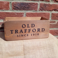 "Fab vintage style ""OLD TRAFFORD"" rustic wooden football theme storage box."