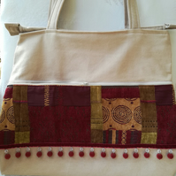 Heavy-Duty Cotton Tote Bag in Distressed Fawn Coloured Denim. Red Arabic Baubles