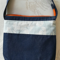 Handmade Heavy-Duty Cotton Tote Bag in Dark Blue Denim. Pale Blue & Orange Trim