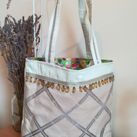 Handmade Cotton Tote Bag with Amber Coloured Beads and Reversible Candy Colours