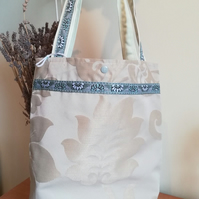 Handmade Cotton Tote Bag With Elegant Floral Design and Blue Trim