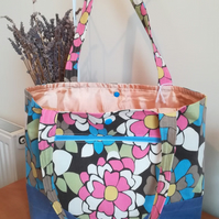 Handmade Cotton Tote Bag With Psychedelic Floral Design and Denim Blue Trim