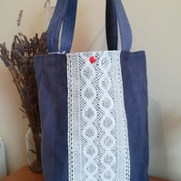 Handmade Cotton Tote Bag in Distressed Denim and Reversible Candy Colours Interi