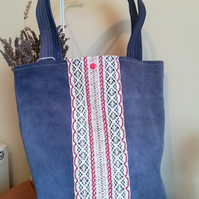 Handmade Cotton Tote Bag in Distressed Denim. Reversible Candy Colours Interior