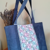 Handmade Cotton Tote Bag in Distressed Denim. Reversible Candy Colours Interior.
