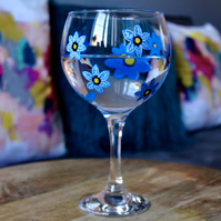 Hand Painted Blue Forget-Me-Not Gin Bulb Glass