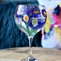 Hand Painted Iris Gin Bulb Glass