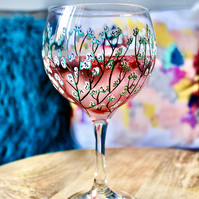 Hand Painted White Blossom Gin Bulb Glass