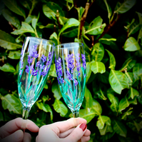 Hand Painted Pair of Lavender Flute Glasses
