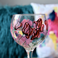 Hand Painted Pink Sweet Pea Gin Bulb Glass
