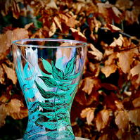 Hand Painted Leaf Vase