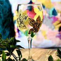 Hand Painted Daffodil Wine Glass