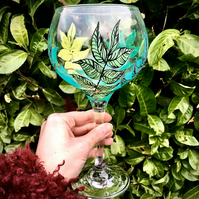 Hand Painted Leaf Gin Bulb Glass