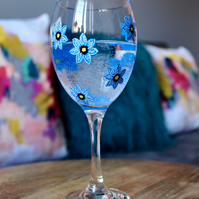 Blue Forget-Me-Not Handpainted Wine Glass
