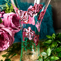 Hand Painted Pink Sweet Pea Vase