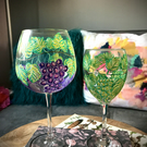 Pair of Grape Vine red and white Handpainted Wine Glasses