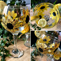 Hand Painted Sunflower Gin Bulb Glass