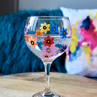 Hand Painted Multicoloured Forget-Me-Not Gin Bulb Glass