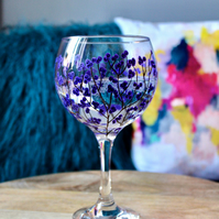 Hand Painted Purple Berry Gin Bulb Glass