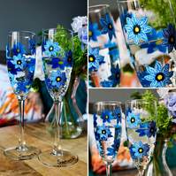 Hand Painted Pair of Forget-Me-Not Handpainted flute glasses