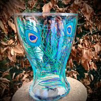 Peacock feather Handpainted Vase
