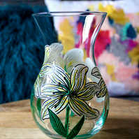 Hand Painted Small White Lily Vase