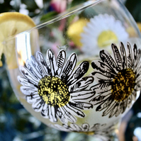 Hand Painted White Daisy Gin Bulb Glass