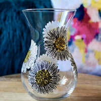Hand Painted Small White Daisy Vase