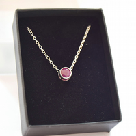 Solitaire ruby necklace, Ruby pendant, silver and ruby necklace