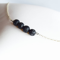 Lava bead and silver necklace, lava stone necklace, sterling silver necklaces