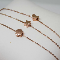 Rose gold vermeil necklace, rose gold charm necklace, star necklace