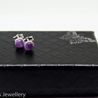 Amethyst earrings, sterling silver amethyst earrings, amethyst studs