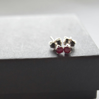 Garnet earrings, garnet stone studs, small garnet earrings, silver stone studs