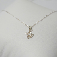 Dove necklace, silver necklace, silver bird necklace, silver jewellery, dove cha
