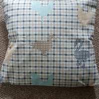 Cushion cover chickens and ducks-cotton cushion cover-16 inch cushion cover-blue
