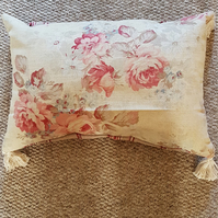 Floral and striped cushion cover-pink and ecru floral and stripes-tassels-zipped